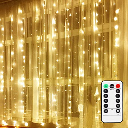 LETOUR LED Window Curtain String Light with with Remote & Timer 300 LEDs 10 Feet, Warm White Bedroom Light for Home Garden Bedroom Sleeping Light Outdoor Indoor