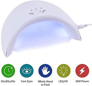 36W UV Light LED Nail Dryer|Curing Lamp for Fingernail & Toenail Gels Based Polishes with Sensor| 30s 60s 90s Timer|Professional Nail Art Tools