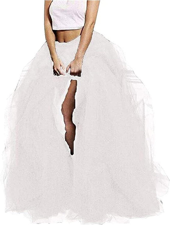 Ladies Tulle Tulle Short Skirt Long Skirt Long Tulle Floor Length Layered High Waist Skirt Wedding Night Party A-line Tutu Skirt Women's Wedding Dress (Color : White)