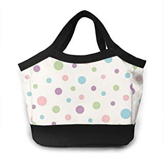 Lunch Bag Reusable Insulated Dotty Pink Polka Dot Portable Lunch Tote Bag with Zip for Women