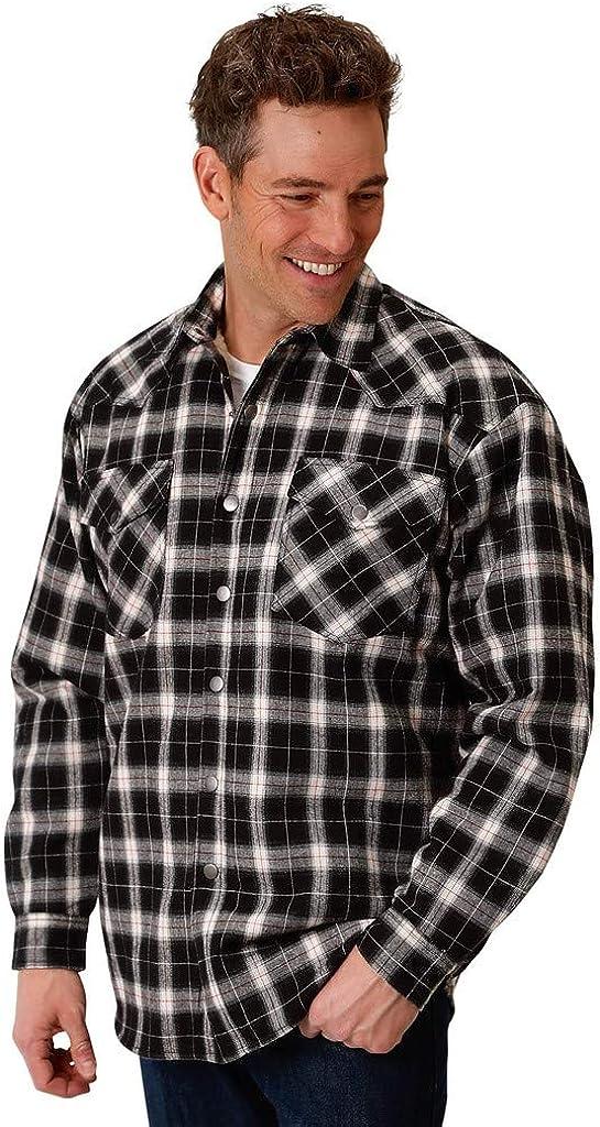 Roper Western Jacket Mens Flannel Plaid Black 03-097-0719-2682 BL
