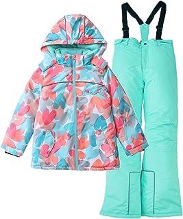 Hiheart Girls Warm Snowsuit Hooded Ski Jacket + Pants 2 Pcs Set (5/6, Coral Heart)