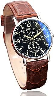 Men's Watch Hosamtel Six Pin Luxury Design Leather Belt Pin Buckle Blue Glass Quartz Analog Wristwatch (Brown)
