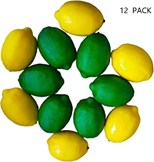Szsrcywd 12 Pack Artificial Fake Lemons and Limes-6 Pack Simulation Yellow Lemon Decor,6 Pack Green Foam Fruits Model Decorative for House,Kitchen,Summer Party
