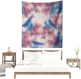 Willsd Psychedelic DIY Tapestry Boho Style Digital Tie Dye Effect Graphic with Soft Feather Patterns Tribal Art Home Decorations for Bedroom Dorm Decor 40W x 60L INCH Pink Blue