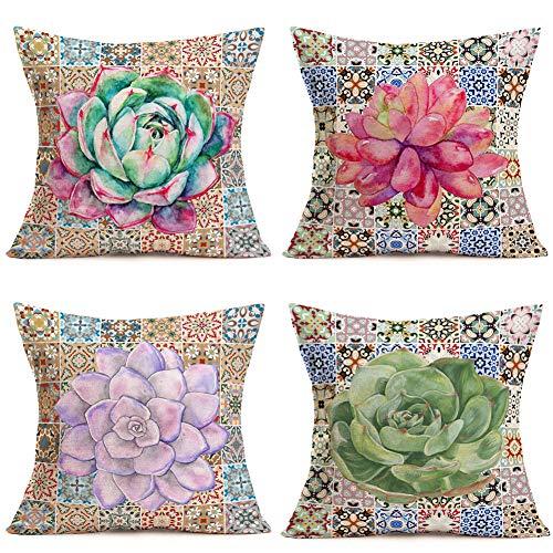"Hopyeer Set 4 Retro Mandala Compass Medallion Bohemian African Boho Style Pillow Covers Summer Succulent Cactus Leaf Plants Decor Cotton Line Cushion Case Decorative for Sofa Couch 18""x18"" (MC-Boho)"