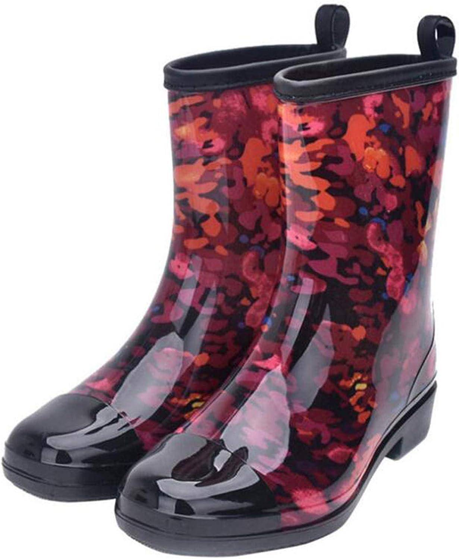Rain Boots Women Mixed colors Ladies Rubber Boots Fashion Waterproof Rainboot Non-Slip Low Heel Women shoes,