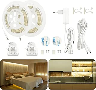 LED Bettlicht mit Bewegungsmelder, AveyLum Warmweiß Bett Lichtleiste Nachtlicht Streifen Dimmbar Bewegungssensor Licht Lei...