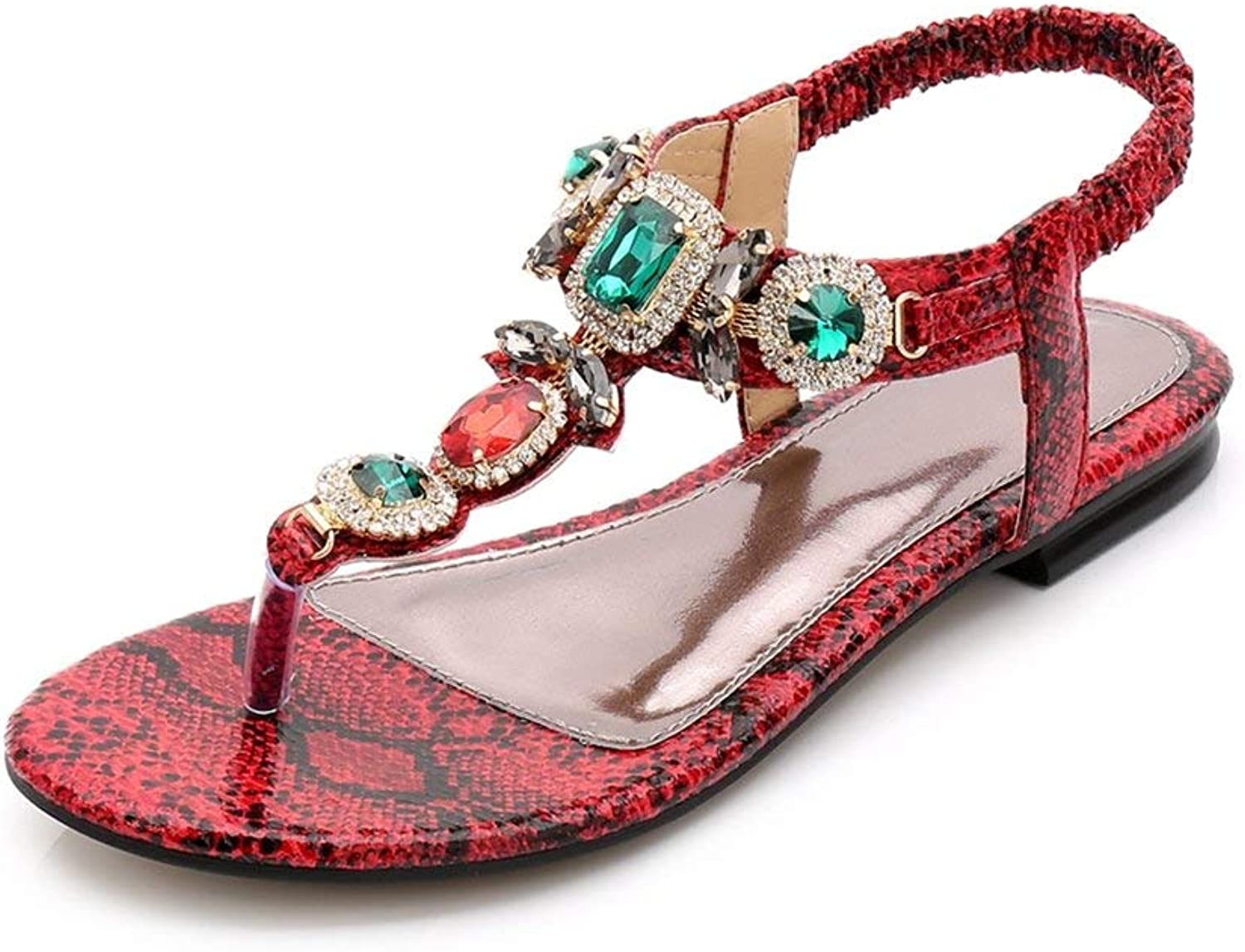Beautiful - Fashion Women's Bohemian Bling T-Strap Thong Sandals Comfort Retro Jeweled Summer Dress Flip Flops Flat shoes