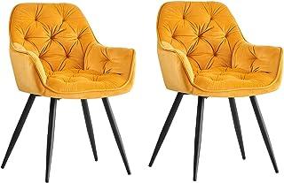 Greneric - Lot de 2 chaises de salle à manger en tissu velours avec dossier, pieds en métal noir, design retro, accoudoirs...