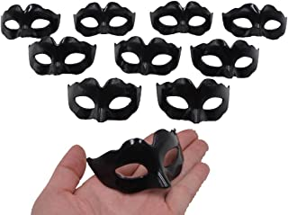 Mini Masquerade Masks Party Decoration - Yiseng 10pcs Set Simple Supper Small Masks Novelty Mardi Gras Kid Gifts (simple black)