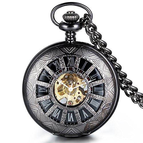 JewelryWe Steampunk Handaufzug mechanische Taschenuhr, Klassiker Nostalgisch Quarzuhr Kettenuhr Uhr Anhänger mit römischen Ziffern Zifferblatt für Damen & Herren