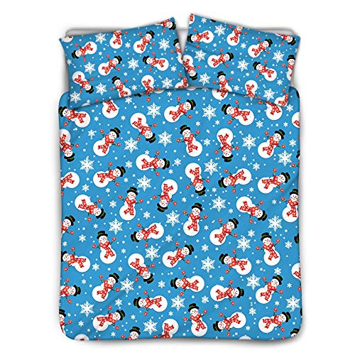 ZXXFR Duvet Cover Set Printed Cartoon snowflake christmas snowman,Bedding Quilt Cover Soft Breathable for Girls Boys 3 Pieces (1 Duvet Cover + 2 Pillow cases)-220x260CM
