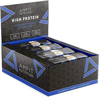 comprar comparacion Marca Amazon - Amfit Nutrition Barrita de proteína baja en azúcar (20gr proteina - 2,8gr azúcar) - arándano y yogur - Pack...