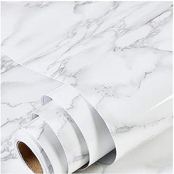 大理石 シート カッティングシート 壁紙シール ホワイト はがせる 防水 防汚 耐熱 DIY 光沢あり 40cmX500cm (白)