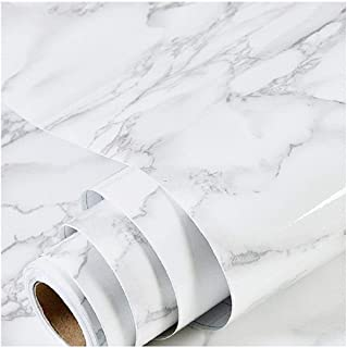 """Best Marble Paper Granite Gray/White Wallpaper Roll (24"""" x 118"""") Kitchen Countertop Cabinet Furniture is Renovated Thick PVC Easy to Remove Without Leaving Glue Upgrade Review"""