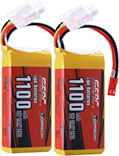SUNPADOW 11.1V 3S RC Lipo Battery 35C 1100mAh with JST Plug for RC Airplane Quadcopter Helicopter Drone FPV Racing 2 Packs