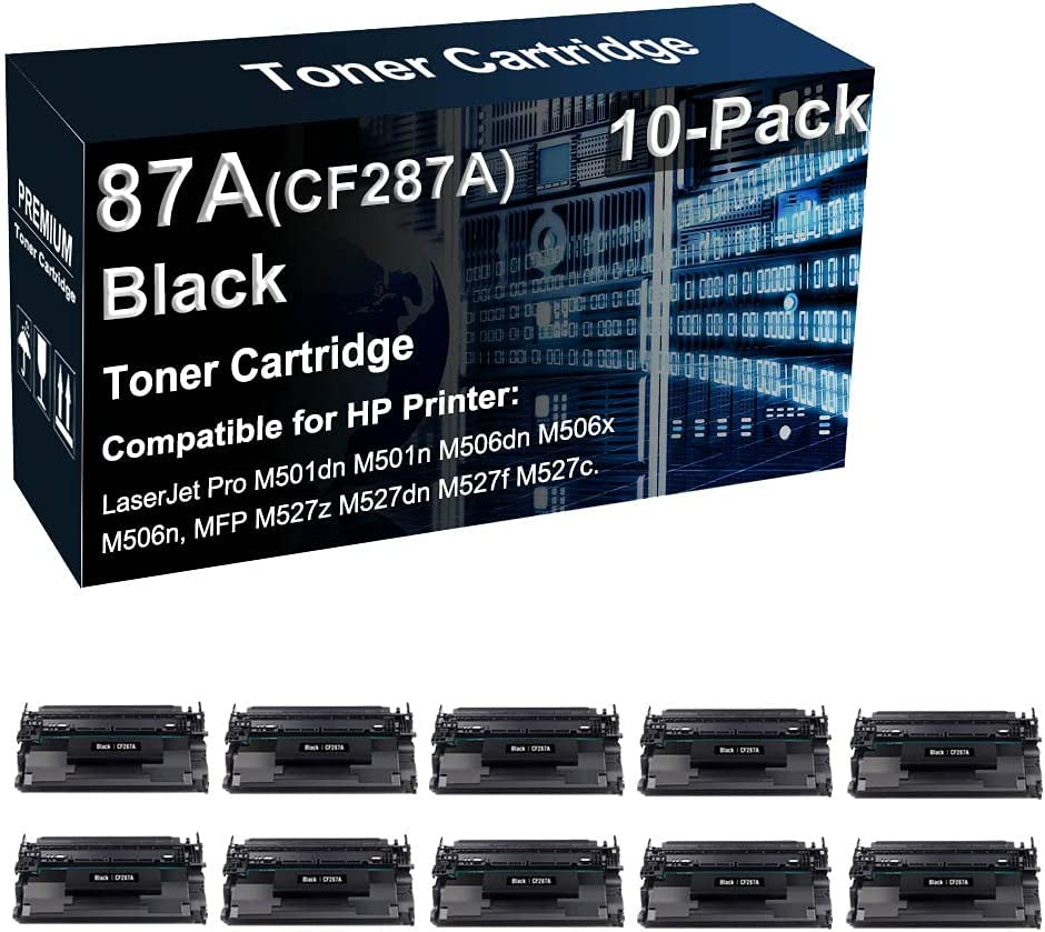 10-Pack Compatible High Yield 87A CF287A Toner Cartridge Used for HP M501dn M506n / MFP M527z M527dn Printer (Black)