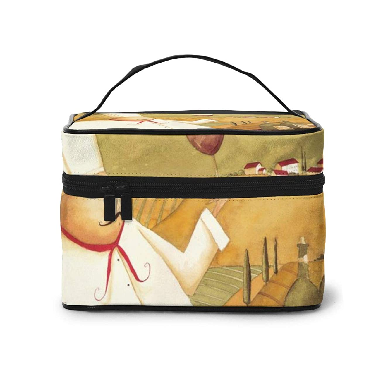 当社甘くする休みメイクポーチ 化粧ポーチ コスメバッグ バニティケース トラベルポーチ シェフ ワイン ぶどう 雑貨 小物入れ 出張用 超軽量 機能的 大容量 収納ボックス
