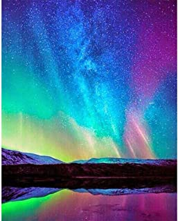 5D Diamond Painting by Number Kits for Adults Round Full Drill DIY Gem Art Painting for Home Décor (Aurora 11.8 x 15.7 inch)