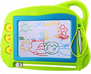 Best AiTuiTui Magnetic Drawing Board Mini Travel Doodle, Erasable Writing Sketch Colorful Pad Area Educational Learning Toy for Kid / Toddlers/ Babies with 3 Stamps and 1 Pen (Green) Review