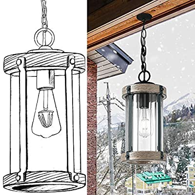 Untrammelife Outdoor Pendant Lights,14'' Wood Hanging Porch Light Fixture Exterior Lantern Lighting with Clear Ribbed Glass and Chain Adjustable for Gazebo Patio