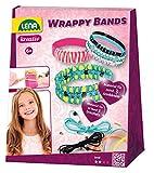 Lena 42652 Bastelset Wrappy Bands, Komplettset für mindestens 3 Wickelarmbänder mit 7 Silikonbänder in 5, Kordel in 4 Farben und 48 Fädelperlen, Schmuck Bastel Set für Kinder ab 6 Jahre, bunt