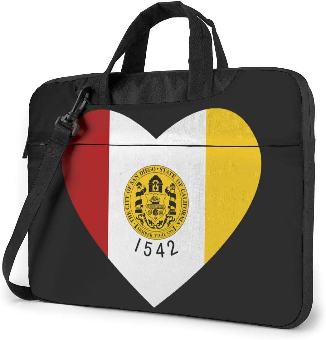 Flag of San Diego Heart Laptop Bag One Shoulder Shockproof Laptop Bag