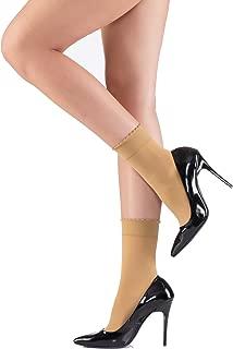 Ankle High Socks Women Girls - 4 Pack Opaque Semi Sheer Nylon Pop Socks Anklets