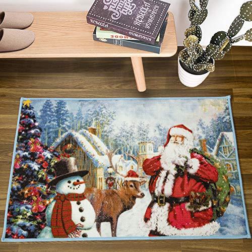 DETUM Christmas Door Mat, 2 Feet x 3 Feet Santa Claus Area Rugs for Christmas Holiday Decorative Loop Velvet Carpet for Xmas Welcoming Door Living Room Bedroom Fireplace, Blue