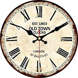 MEISTAR 16 Inch Super Large Roman Numerals Wooden Wall Clock,Rustic Country Style Easy to Read Big Wall Clock,Non Ticking Quiet Khaki Round Wall Clock
