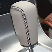 Loncky Genuine Leather Gear Shift Knob Cover for 2011 2012 Volvo S60 / 2007 2008 2009 2010 2011 2012 Volvo S80 / 2008 2009 2010 Volvo V70 / 2010-2012 Volvo XC60 / 2008-2012 Volvo XC70 Automatic (1)