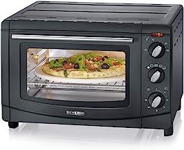 SEVERIN Mini-Four à chaleur tournante 20 Litres, Inclus : Pierre à Pizza et Tournebroche, Minuteur 60 min, 1 500 W, Noir, ...