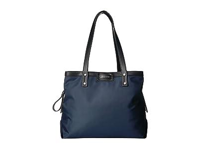 Calvin Klein Lane Nylon Triple Compartment Tote (Navy) Handbags