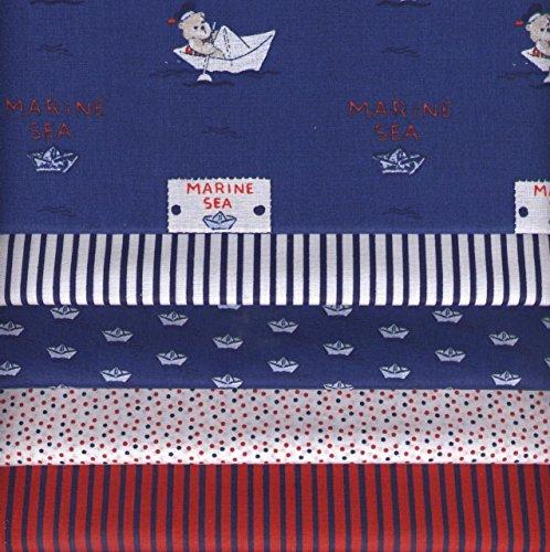 Stoffpak bundle de telas - 5 telas Bebé marinero AZUL, con rojo y blanco - colección de telas de coordinación (pequeños diseños)   100% algodón   35 x 50 cm