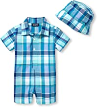 The Children's Place Baby Boys Printed Plaid Romper Hat Set
