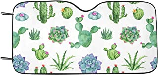 INTERESTPRINT Cactus Succulent Watercolor Car Sun Shades UV Protector, Auto Windshield Shades to Keep Cool