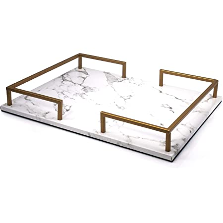 Amazon Com Putwo Decorative Tray Perfume Tray Marble Print Pu Leather Tray With Copper Color Metal Handles Handmade Vanity Tray Jewellery Tray Catchall Tray Trinket Tray For Dresser Bathroom Vanity Table Kitchen Dining