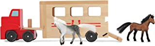 Melissa & Doug Horse Carrier Wooden Vehicle Play Set (Tractor-Trailer Truck Toy with 2 Horses, Pull-Down Ramp, Great Gift for Girls and Boys - Best for 3, 4, and 5 Year Olds)