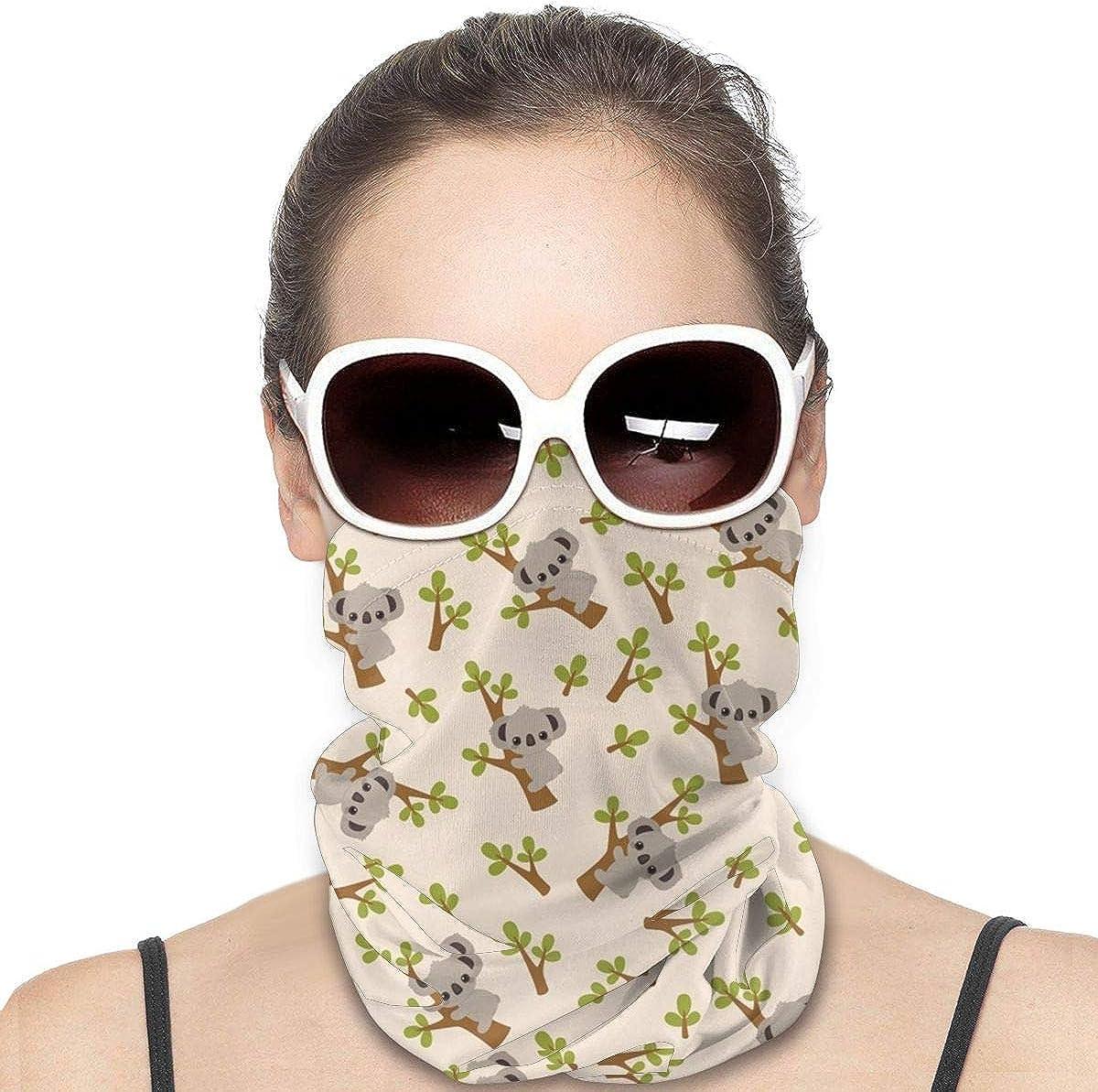 KiuLoam Women Bandanas Face Mask, Koala on Tree Neck Gaiter Mask Headband for Men Face Scarf Dust, Outdoors, Sports