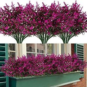 Silk Flower Arrangements HAPLIA 8 Bundles Artificial Lavender Flowers with Silk Flowers for Wedding Decor Bouquet Indoor Outdoor Home Kitchen Office Table Centerpieces Arrangements Christmas (Fuchsia)