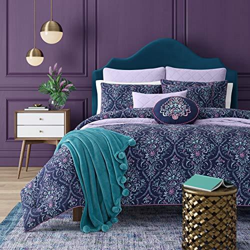 Five Queens Court Kinsley Bohemian 3 Piece Comforter Set, Indigo, King 110x96