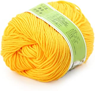 joylve Knitting Yarn Skein Baby Super Smooth Worsted Soft Natural Silk Wool Fiber Golden Yellow