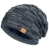 Vgogfly Slouchy Beanie for Men Winter Hats for Guys Cool Beanies Mens Lined Knit Warm Thick Skully Stocking Binie Hat Navy