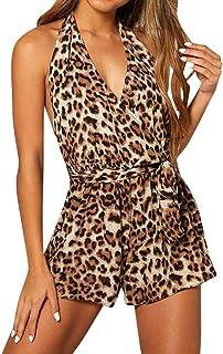 LAND-FOX Mono para Mujer Fiesta,Sexy Bodycon Sexy Playsuit Pantalones de Mameluco Clubwear Traje de Playa de Verano Monos Mujer Fiesta Tallas Grandes Cortos Jumpsuit