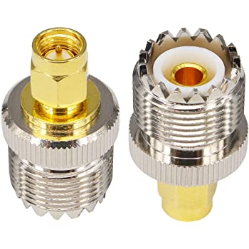 Adapter Converter SO239 UHF Female to SMA Female Bulkhead M16 O-Ring Waterproof Circle Low Loss for RF Coax Cables Antenna SWR Ham Radios Radio Station Pack of 2