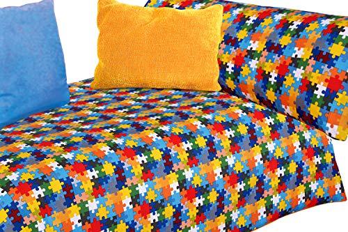 Juego de sábanas Estampado Piezas de Puzzle de Colores (Puzzle, para Cama de 90x190/200)