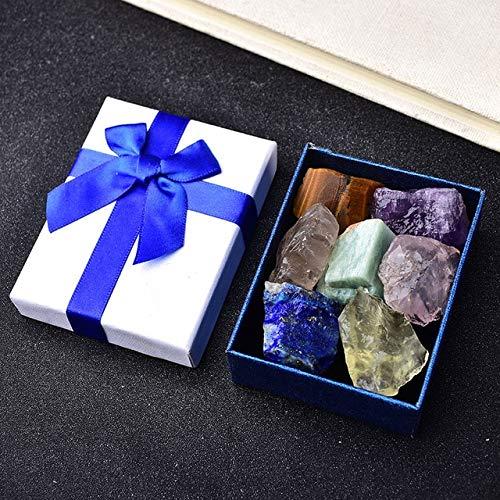 K-ONE 7 unids/Set Piedra Natural Cristal Piedras Preciosas Chakras Piedra curativa Cuarzo Adornos minerales decoración del hogar Caja de Regalos para niños