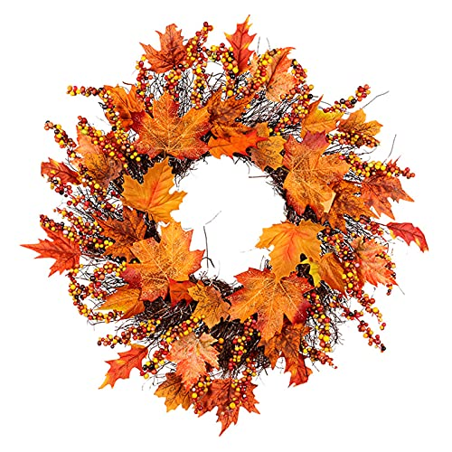 SUFUBAI Artificial Maple Leaf Wreath, Autumn Leaves Berry Hanging Garland Fall Wreath for Front Door with Pinecone Berry for Autumns Harvest Fall Thanksgivings Decoration
