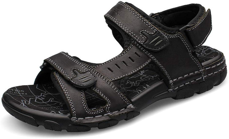 Leather Sandals Men's Fashion Leather Velcro Sandals Beach shoes